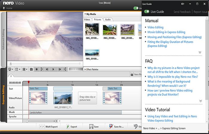 Use the context-sensitive Live Guide in Nero KnowHow PLUS for your video editing projects.