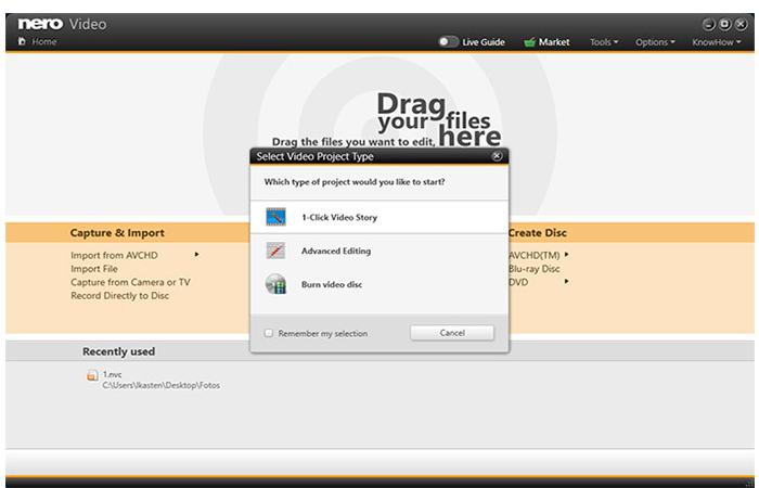 Ziehen Sie Ihre Dateien ganz einfach in die Drop-Zone von Nero Start. Die praktische 1-Click Video Story macht daraus im Handumdrehen einen kompletten Film.