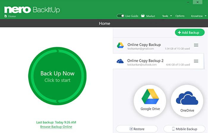 Nero BackItUp umożliwia Ci teraz zapisanie kopii zapasowej w chmurze na dyskach OneDrive i Google Drive, a następnie ich odzyskanie tą samą drogą.
