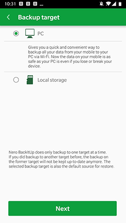 All your data is secure with Nero BackItUp App.