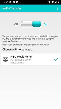 All Ihre Geräte und Medien gekoppelt per WiFi mit WiFi+Transfer.