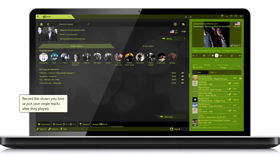 Record your favorite songs